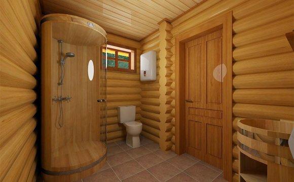 Душевая кабина в деревянном